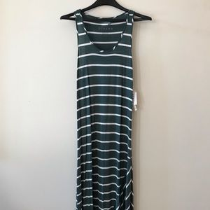 Kensie Pieces Green Striped Maxi Dress 🔥NWT
